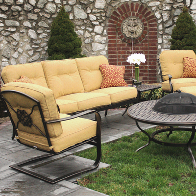 6 piece heritage deep seating cast aluminum patio set for Agio wicker chaise lounge