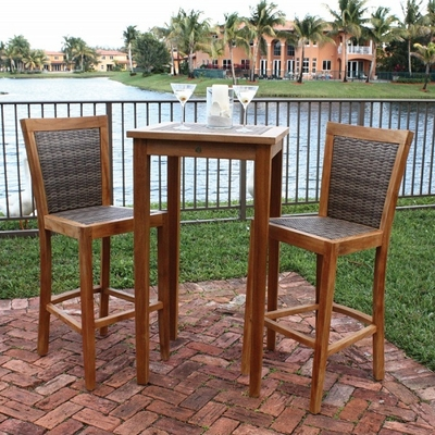 Bring Home Beautiful & Breezy Island Style with This Teak & Wicker Patio Set