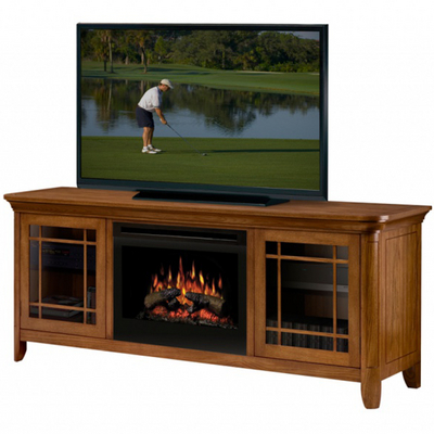 A Wood Media Console for Your Living Room with a Built-In Electric Fireplace