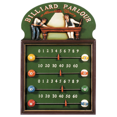Billiard parlour scoreboard by r a m game room products game room
