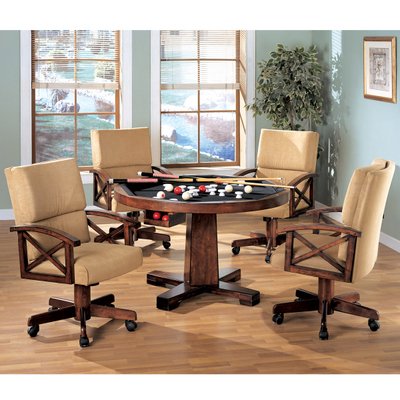 This 3-in-1 Game Table Set by Leisure Select Offers A Beautiful Chestnut Finish