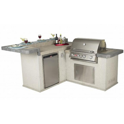 Jr Gourmet Q With Stucco Base Outdoor Grill Island By Bull
