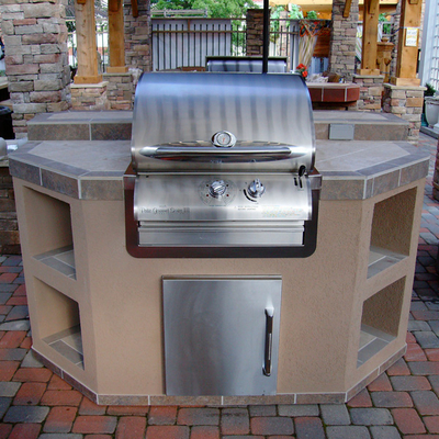 Smart & Simple Outdoor Grill Island with Custom Color, Tile & Stucco