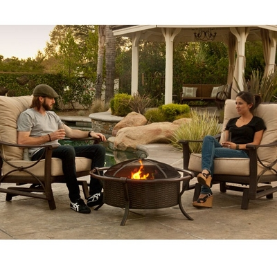 Beautiful Basket-Weave Design Is Stamped Into This Bronze Wood-Burning Fire Pit