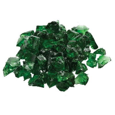 A Large 20 Lb. Bag of Dark Green Fire Glass for Your Fire Pit or Fireplace
