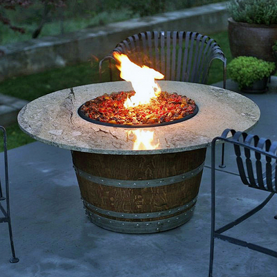 Cool wine barrel fire pit table
