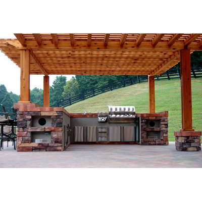 Custom outdoor rooms and kitchens family leisure for Outdoor kitchen under pergola