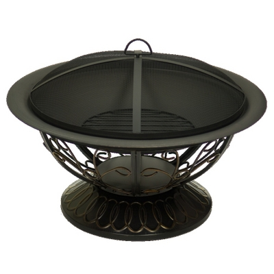 A Wonderful Scroll Motif Accents This Beautiful Bronze Wood Burning Fire Pit