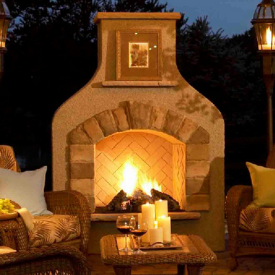 Sonoma fireplace by the outdoor greatroom company for Outdoor rooms with fireplaces