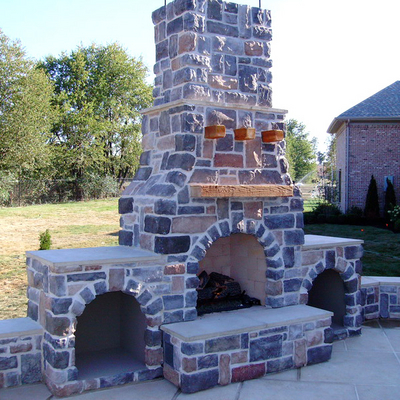 Attractive Custom Stone Outdoor Fireplace Built to Your Needs & Desires