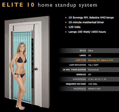 Get bronze skin all year round with the Elite 10 stand up tanning bed by ESB
