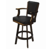 Backed Swivel Bar Stool - Chestnut