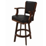 Backed Swivel Bar Stool - English Tudor