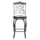 Athena Autumn Rust Bar Stool w/ Wood Seat