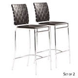 Criss Cross Bar Chairs - Espresso