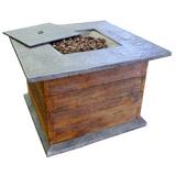 35'' Rustic Oak Fire Pit Table