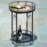 Compass Marble Mosaic Serving Cart